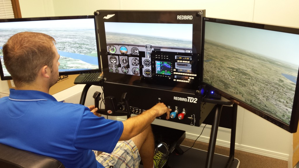 Aviator practicing with the Flight Simulator